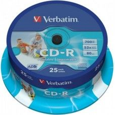 CD-R 80 Verbatim 52x DLP Inkjet white 25er Cakebox