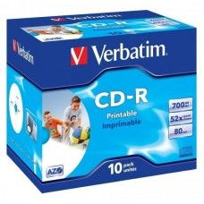 CD-R 80 Verbatim 52x DLP Inkjet white Full Surface 10er Jewel Case