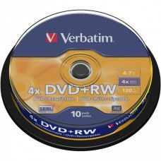 DVD+RW 4.7GB Verbatim 4x 10er Cakebox