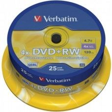 DVD+RW 4.7GB Verbatim 4x 25er Cakebox AKTION