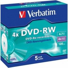 DVD+RW 4.7GB Verbatim 4x 5er Jewel Case