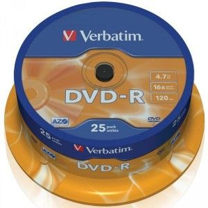 DVD-R 4.7GB Verbatim 16x 25er Cakebox